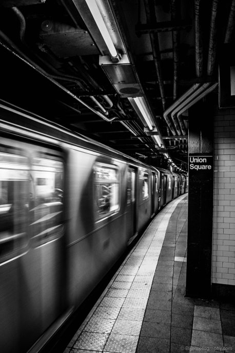 The tube Q is leaving at Urban Square station in NYC- USA