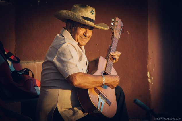 A musician is playing a song from the band Chan Chan in Trinidad- Cuba
